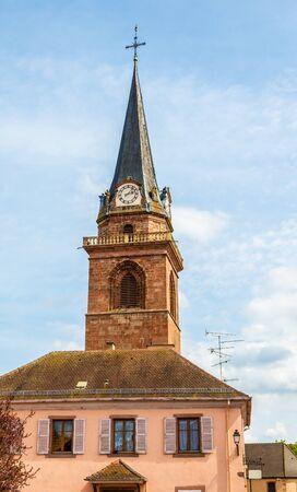 belfry: Belfry of a church in Bergheim - France