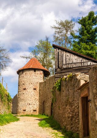 alsace: Town walls of Ribeauville - Alsace, France Stock Photo