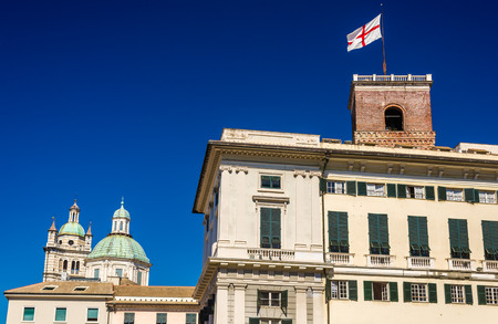 doges: Towers of San Lorenzo Cathedral and Doges Palace in Genoa - Italy Editorial