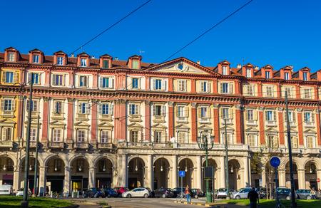 statutes: Historic buildings on Piazza Statuto in Turin - Italy