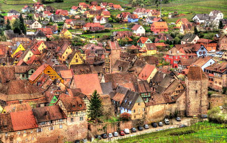 View of Riquewihr village in Alsace, France photo