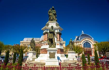 belfort: Statue of colonel Denfert-Rochereau in Belfort, France Editorial