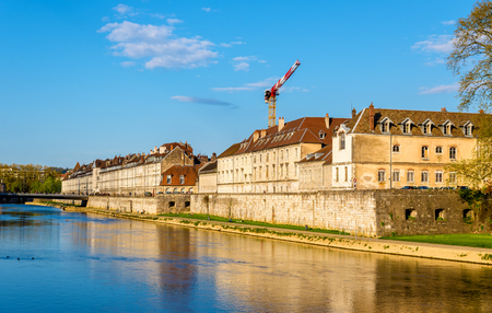 View of embankment in Besancon - France Stock Photo