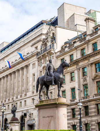 Equestrian statue of Wellington in London - England Stock Photo
