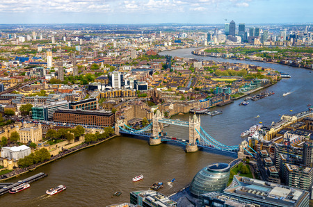 wharf: View of Tower Bridge from the Shard - London, England