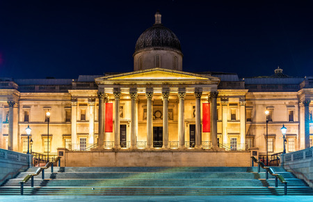 the british museum: The National Gallery in Trafalgar Square, London