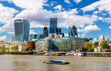 Skyscrapers of the City of London over the Thames - England Stock Photo - 40229906
