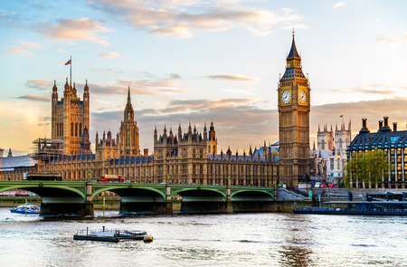 large house: The Palace of Westminster in London in the evening - England