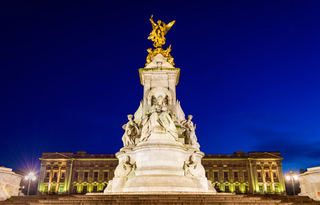 palace: The Victoria Memorial in the evening - London, England Editorial
