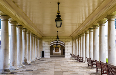 colonnade: Colonnade in National Maritime Museum in Greenwich, England Editorial