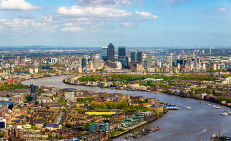 aerial views: View of the Thames from the Shard skyscraper in London Stock Photo
