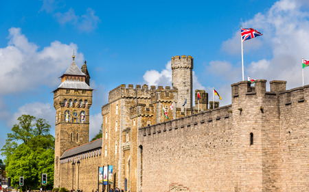 castle: View of Cardiff Castle - Wales, Great Britain Editorial