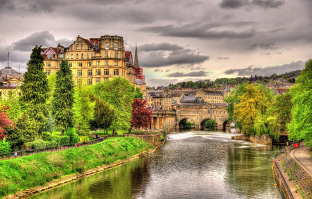 historic architecture: View of Bath town over the River Avon - England Stock Photo