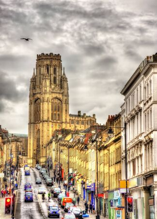 south west england: View of The Wills Memorial Building with Park Street in Bristol - England