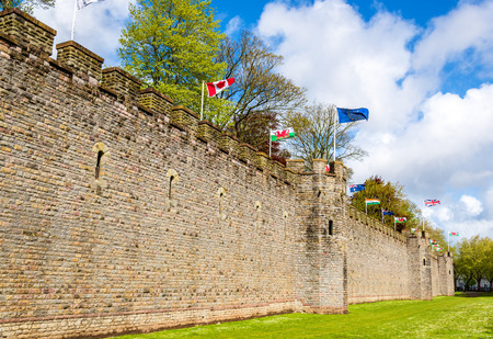 ramparts: Walls of Cardiff Castle - Wales, Great Britain Editorial