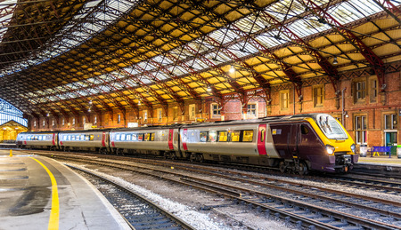 Passenger train at Bristol Temple Meads Railway Station, England