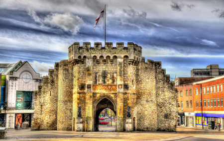 gatehouse: The Bargate, a medieval gatehouse in Southampton, England Stock Photo