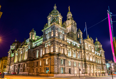 kamers: Glasgow City Chambers at night - Scotland