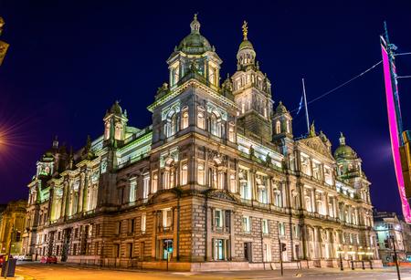 Glasgow City Chambers at night - Scotland