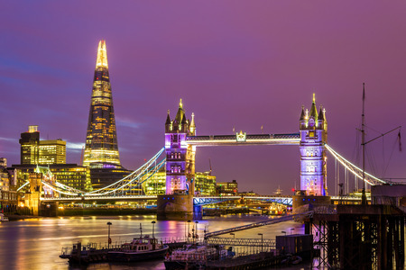 'tower of london': View of Tower Bridge in the evening - London Stock Photo