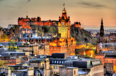 View from Calton Hill towards Edinburgh Castle - Scotland