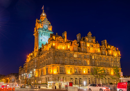 hotel building: The Balmoral Hotel, a historic building in Edinburgh - Scotland Editorial