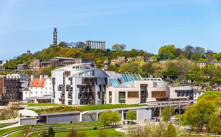 scottish parliament: View of New Parliament House under Calton Hill - Edinburgh