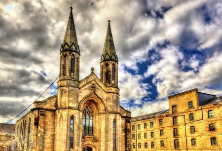 castle district: A church in Leith district of Edinburgh - Scotland Editorial