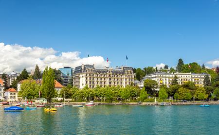 lakefront: View of embankment in Lausanne - Switzerland