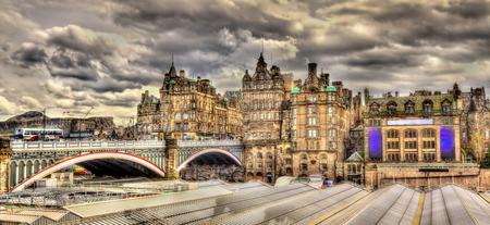 waverley: North Bridge above Waverley Station in Edinburgh, Scotland Editorial