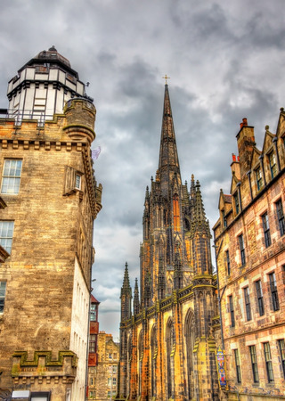 obscura: View of the Hub and Camera Obscura in Edinburgh