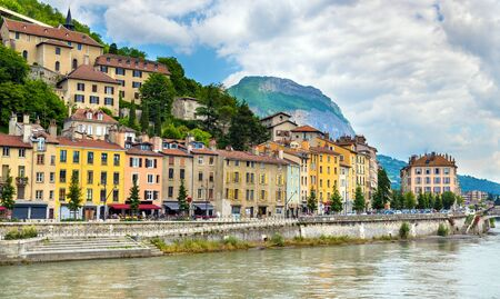 View of the embankment in Grenoble - France 版權商用圖片