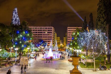 syntagma: Syntagma square in Athens decorated for Christmas Editorial