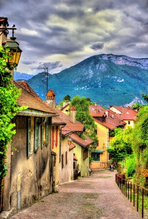 palais: Street in the old town of Annecy - France Stock Photo