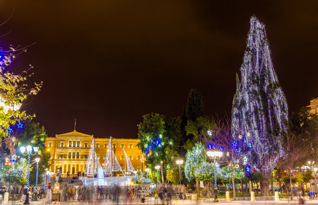 christmas in the city: Syntagma square in Athens decorated for Christmas Editorial