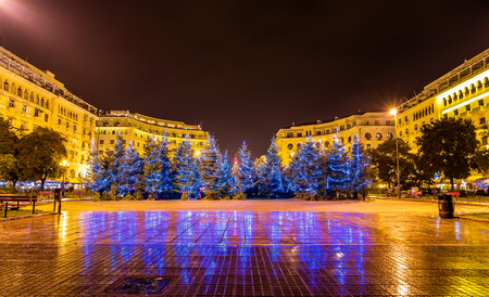 christmas in the city: Christmas trees on Aristotelous Square in Thessaloniki - Greece Editorial