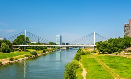 residential idyll: View of the Neckar river in Mannheim - Germany