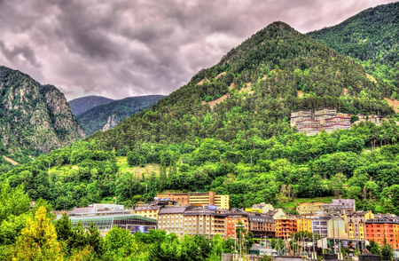 green: Mountains near Andorra la Vella, the capital of Andorra