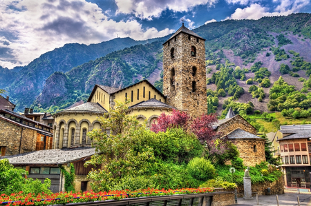 religious building: Sant Esteve church in Andorra la Vella, Andorra Stock Photo