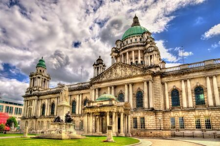northern ireland: Queen Victoria Memorial and Belfast City Hall - Northern Ireland Editorial