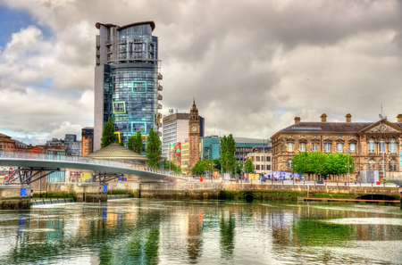 northern ireland: View of Belfast with the river Lagan - United Kingdom