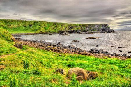giants: Irish coastline near the Giants Causeway, United Kingdom