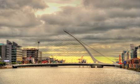 samuel: View of Samuel Beckett Bridge in Dublin, Ireland Stock Photo