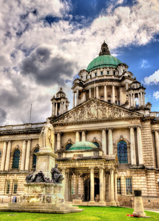 victoria park: Queen Victoria Memorial and Belfast City Hall - Northern Ireland Editorial