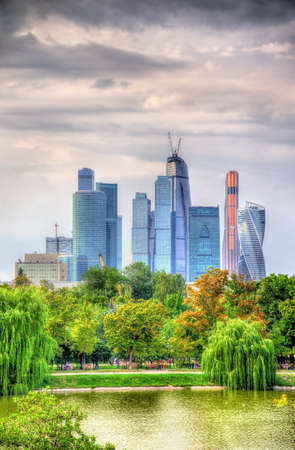 international business center: View of Moscow International Business Center with Novodevichy Park