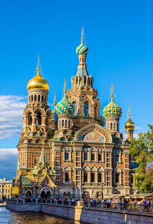 people in church: Church of the Savior on Blood - St. Petersburg, Russia
