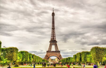 champ: View of the Eiffel Tower from the Champ de Mars Stock Photo
