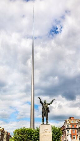 spire: Statue of Jim Larkin and the Spire of Dublin - Ireland