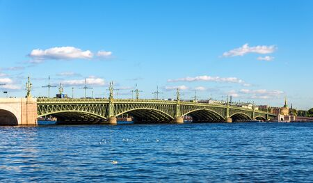 river view: View of Trinity Bridge in Saint Petersburg - Russia Stock Photo