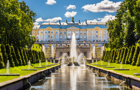 clouds: garden: View of the Peterhof Grand Palace - Russia Editorial